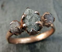 Raw Pink Diamond Rose Gold Engagement Ring Wedding by byAngeline