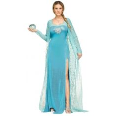 This is your time to be a Disney Princes, with this Ice Queen costume you will represent Elsa from Frozen. Costume includes: Gown. Product Features: State: New York Includes Accessories, Wig sold sepe