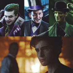 "Bruce's face just says "" Nope, I'm done, that's enough for me. Gotham Series, Gotham Cast, Gotham Tv, Tv Series, Gotham Joker, Joker And Harley, Batman Arkham, Batman Robin, Harley Quinn"