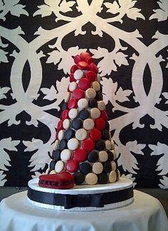 Stunning Wedding Red, Black & White ☆ Macaron Tower