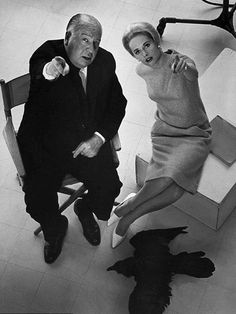 Tippi Hedren and Hitchcock on the set of The Birds (Alfred Hitchcock, 1963)