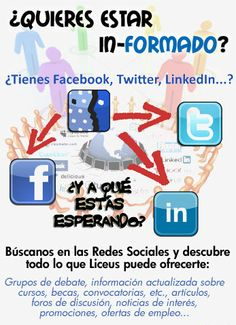 Búscanos en las redes sociales, Facebook, Twitter, LinkeIn...