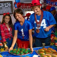 Football party must-have #1: Get your team of fans hyped for cheering with necklaces, whistles and hats in team colors. Click for 9 more must-haves!
