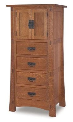 Amish Rockefeller Mission Lingerie Chest with Two Doors The strength of this fine wood furniture is evident in the exposed tenon joinery. Special bedroom chest for delicates and accessories. Mission style magic! #lingeriechest #bedroomstorage