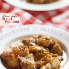 Caramel Apple Bread Pudding {Pampered Chef Giveaway} Recipe Desserts with french bread, granny smith apples, light brown sugar, whole milk, salted butter, ground cinnamon, ground cloves, vanilla extract, large eggs, caramel sauce, water, granulated sugar, salted butter, heavy cream, vanilla extract