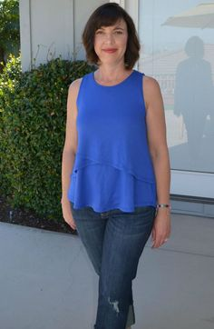 Tiered layers in a bright blue knit top are flattering and totally versatile. (pear-shaped-gal.com)