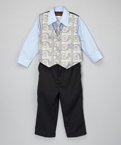 This American Exchange Sky Blue Four-Piece Vest Set - Infant by American Exchange is perfect! #zulilyfinds