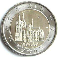 """Moneta Commemorativa Nordrhein-Westfalen """"Cattedrale di Colonia"""" Anno: 2011 Stato: Germania"""