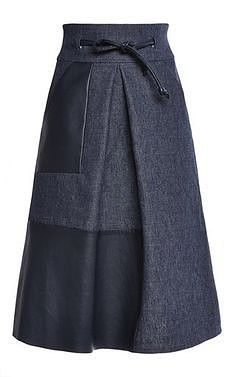 High waisted skirt with leather inlay by MARTIN GRANT for Preorder on Moda… Skirt Pants, Dress Skirt, High Waist Jeans, High Waisted Skirt, Waisted Denim, Maxi Outfits, Denim Ideas, Moda Chic, Vestidos Vintage