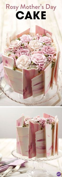 "Nothing says ""I love you"" like a homemade cake, and what better way to show mom what she means to you than with this Rosy Mother's Day Cake? Topped with beautiful buttercream flowers and decorated with pink and purple candy shards, this lovely Mother's Day dessert is bound to be one edible arrangement mom will love! Layer icing colors in your decorating bags to make your roses look like they're actually blooming, and get ready to wow with this Rosy Mother's Day Cake."