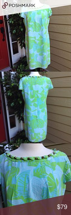"""Lilly Pulitzer Silk Turtle Print Dress Beautiful dress with beading at neckline. It is fully lined and covered zipper in back. No flaws, 35 """" long. Slightly pleated at neckline so that it flows smoothly to the hem. 100% silk. Lilly Pulitzer Dresses"""