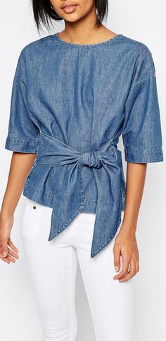Image 1 of Vero Moda Denim Kimono Sleeve Top Denim Fashion, Trendy Fashion, Womens Fashion, Mode Top, Denim Ideas, Casual Outfits, How To Wear, Fashion Design, Clothes