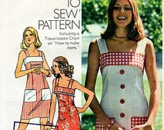 SALE 1970s Sun Dress Pattern Vintage Simplicity How To Sew Pattern 6327 Bust 32.5 Square Neck Maxi Dress with Contrast Band and Pockets