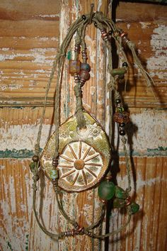 Ceramic Pottery Sun Pendant on Olive Waxed by HiddenFirePottery, $46.00