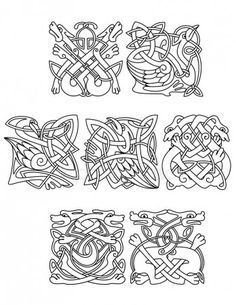 Illustration of Abstract contoured animals and birds in traditional celtic knot style decorated tribal geometric ornament suitable for totem medieval styled embellishment design vector art, clipart and stock vectors. Arte Viking, Viking Art, Viking Designs, Celtic Knot Designs, Design Celta, Caravan Paint, Viking Drawings, Celtic Knot Tutorial, Celtic Animals