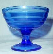 Hazel Atlas Moderntone Blue Champagne Tall Sherbet Glasses