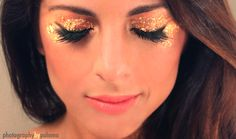 Gold leaf eyes to go with my gold feather dress & gold body paint for #MardiGras