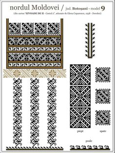 Boulghar- Romanian design Folk Embroidery, Embroidery Patterns, Quilt Patterns, Cross Stitch Designs, Cross Stitch Patterns, Knitting Charts, Embroidery Techniques, Machine Quilting, Bead Weaving