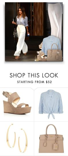 """Jessica Alba! (White Trousers)"" by asia-12 ❤ liked on Polyvore featuring Vince Camuto, River Island, Lana and Prada"