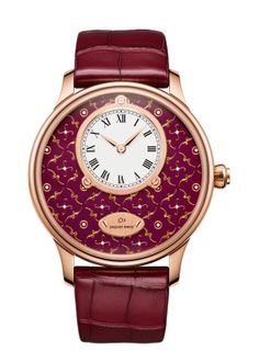 PETITE HEURE MINUTE PAILLONNEE | Bordeaux Grand Feu paillonné-enameled dial. 18-carat red gold case. Self-winding mechanical movement. Power reserve of 68 hours. Diameter 43 mm. Numerus Clausus of 8.