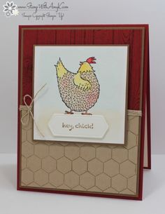 I used the Stampin' Up! Sale-a-bration exclusive Hey, Chick stamp set to create my card for the Happy Inkin' Thursday Blog Hop today.  We've got a sketch challenge and this is what I created for it…