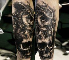 Black Owl tattoo by Sandra Daukshta