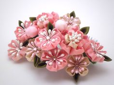 Pink Cherry Blossom Tsumami kanzashi/ Cherry by JagataraArt
