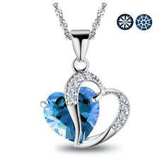 Decorated Blue Sapphire Love Heart Swarovski « Delay Gifts