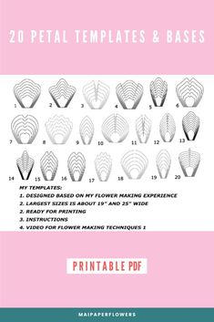 This set of paper flower printable templates is great for making large paper flowers at so saving cost. You can make unlimited giant paper flowers with my instruction, video tutorials. Click through for more views!!! #paperflowerprintabletemplates #paperflowertemplate #flowertemplateprintable #paperflowertemplates #giantpaperflowers #paperflowerstutorial #makingpaperflowers Large Paper Flower Template, Flower Petal Template, Paper Flower Tutorial, Printable Templates, Printable Paper, Flower Center, My Flower, Easy Paper Flowers, Giant Paper Flowers