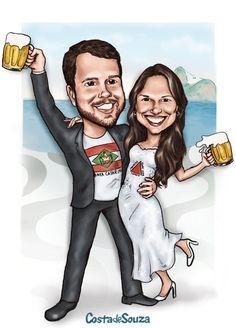Caricatura sob encomenda para convite, quadro e lembranças de casamento. #wedding