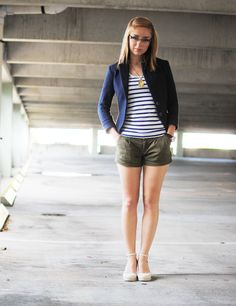 I love how simple and preppy this is.  Shorts and jackets, a match made in heaven...