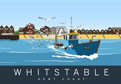 Fishing Boat leaving Whitstable Harbour on a sunny summers day. A flock of expectant seagulls follow behind. Modern Railway poster design. Illustration by www.whiteonesugar.co.uk Drawn by Nigel Wallace of White One Sugar