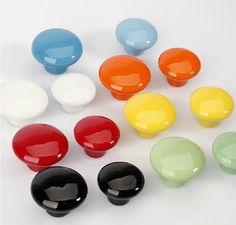 Ceramic Knobs Dresser Knob Drawer Pulls Handles Cabinet Knobs Kitchen Door Furniture Hardware White Black Yellow Red Green Orange