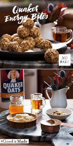 Quaker ® maple almond oat energy bites are a great, no-bake option for a mi Breakfast Recipes, Snack Recipes, Cooking Recipes, Ww Recipes, Breakfast Ideas, Maple Syrup Recipes, Good Food, Yummy Food, Yummy Yummy
