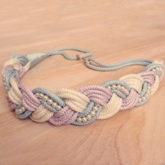 Vintage Pastel Braided Rope Belt with Pearls by CountryMermaids