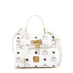 MCM Visetos Satchel (63,290 INR) ❤ liked on Polyvore featuring bags, handbags, genuine leather handbags, leather satchel, satchel purses, white leather purse and top handle satchel