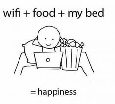 Wifi + food + my bed = happiness
