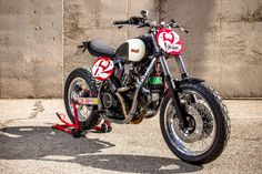 Sick XTR Pepo Cagiva Flat Tracker with a Ducati 350 engine bored out to 750cc.