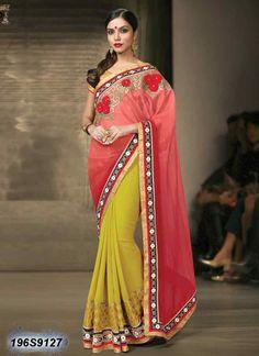 Trendy Yellow Coloured Chiffon Designer saree