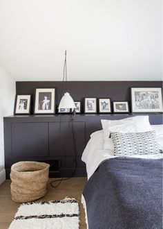 Bedroom in a French home, great idea using the built in storage for art display. Looking for beautiful and unique art photo prints to decorate your home? Visit bx3foto.etsy.com