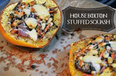 Stuffed acorn squash inspired by House Bolton from Game of Thrones. Game Of Thrones Food, Disney Inspired Food, Recipes Appetizers And Snacks, Desserts, Dinner Party Menu, Honey Chicken, Mediterranean Recipes, Stuffed Peppers, Stuffed Squash
