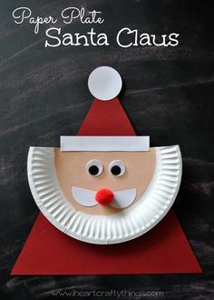 Santa Craft for Kids | Use a paper plate and various shapes to create this darling Santa Craft. Great for preschoolers to reinforce shapes and it's a darling Christmas Craft for Kids. | From I Heart Crafty Things