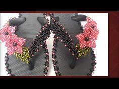 PROJETO DIY -HAVAIANAS BORDADAS COM MAGNANY SENA - YouTube Diy Paper, Ciabatta, Cross Stitch Patterns, Tatting, Slippers, Hair Accessories, Beads, Halloween, Crochet