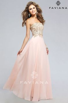 Strapless chiffon evening dress with lace applique bodice