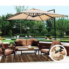 Walmart Sand Dune Off Set Umbrella Replacement Canopy Best Patio Umbrella, Outdoor Patio Umbrellas, Indoor Outdoor Area Rugs, Outdoor Decor, Replacement Cushions, Replacement Canopy, Best Glider, Umbrellas For Sale, Outdoor Rocking Chairs