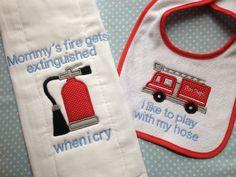 Funny baby bib and burp cloth. Fireman themes!  I like to play with my hose