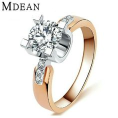 MDEAN Rose gold filled Wedding Rings For Women Engagement CZ diamond Jewelry Vintage women rings