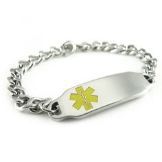 MyIDDr - Pre Engraved - Pacemaker Medical Alert ID Bracelet, Yellow Symbol ** Check this awesome jewelry @ http://www.amazon.com/gp/product/B005HYTS6G/?tag=finejewelry4u.com-20&pop=070716133734