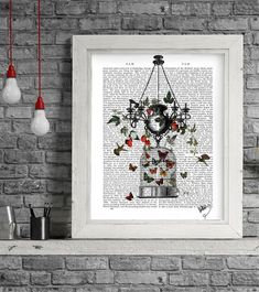 Strawberry Chandelier: Butterfly decor bird cage print valentines gift for her anniversary gift for wife gift for mom mothers day gift woman