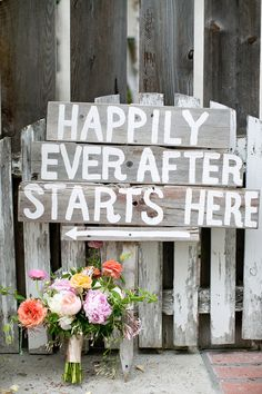 Happily ever after, photo by Amber Lynn Photography http://ruffledblog.com/love-grows-wedding-inspiration #weddingsigns #signage